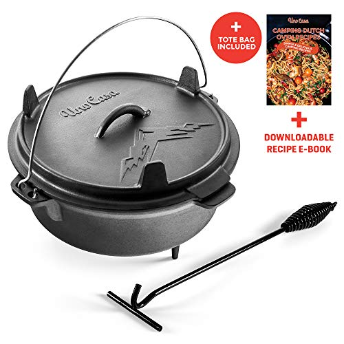 Uno Casa Cast Iron Camping Dutch Oven - 6 Quart Pre-Seasoned Camping Cookware Pot With Lid - Lid Lifter and Tote Bag included