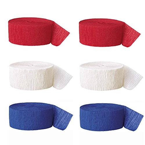 Red White and Blue Party Pack of Streamers Colors of the American Flag 2 Rolls Each Color