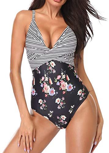 AOQUSSQOA Mujer Traje de Baño de Una Pieza Retro Monokinis Pin Up Halter Talla Grande Una Pieza Moda Sexy con Uno/Dos Tirantes (1, XL)