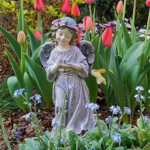 Angel Figurines - Angel with Dove Textured Concrete Look Garden Angel Statue
