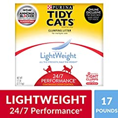 One (1) 17 pound Box - Purina Tidy Cats Light Weight, Low Dust, Clumping Cat Litter, Light Weight 24/7 Performance Multi Cat Litter Low Dust for a Clean, Easy Pour Prevents ammonia odor from forming for two weeks when used as directed Lightweight for...
