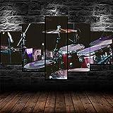 Impresión En Lienzo 5 Piezas Cuadro Sobre Lienzo,5 Piezas Cuadro En Lienzo,5 Piezas Lienzo Decorativo,5 Piezas Lienzo Pintura Mural,Regalo,Decoración Hogareña Batería Set Kit Instrumento Musical