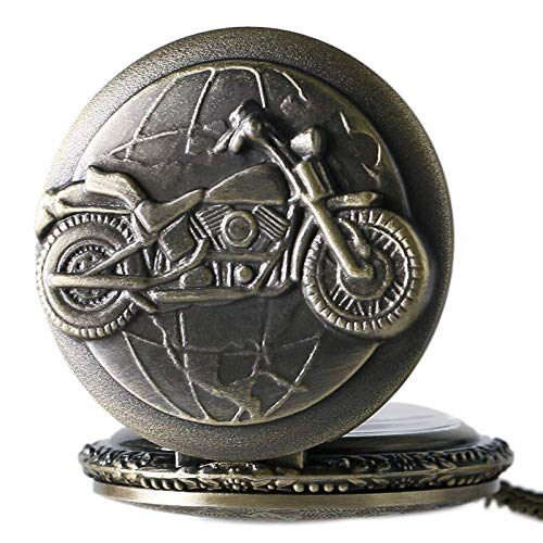 WLGQ Reloj de Bolsillo 3D de Bronce con diseño de Motocicleta, Reloj de Bolsillo para Hombres y Mujeres con Collar, Cadena, Motocicleta, Colgante Vintage, Retro Punk