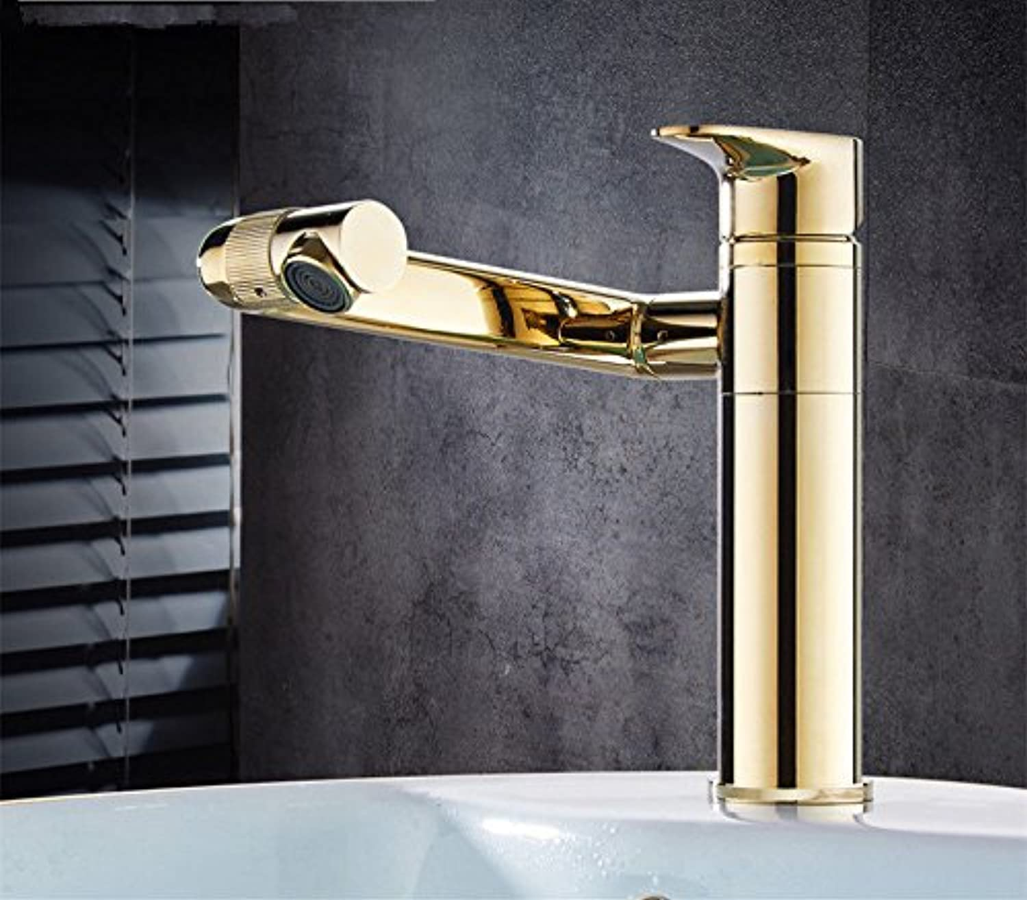 AQMMi Bathroom Sink Mixer Tap Brass 1 Hole Hot and Cold Water Swivel gold Single Lever Taps for Bathroom Sink