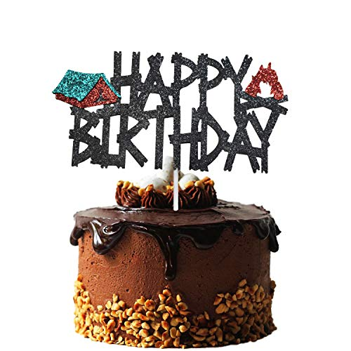 Camping Birthday Cake Topper, Glittery Camping Themed Party Happy Birthday Cake Topper, Camping Birthday Party Decorations, Boys GirlS Campsite Camping Birthday Party Supplies