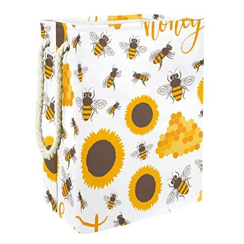 VFSS Cesta de lavandería, impermeable, ligera, redonda, plegable, con asas, para el hogar, girasoles, abejas