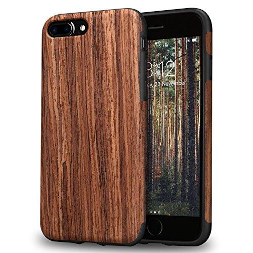 TENDLIN iPhone 7 Plus Hülle/iPhone 8 Plus Hülle mit Holz und Flexiblem TPU Silikon Weiche Schutzhülle für iPhone 7 Plus und iPhone 8 Plus (Rotes Sandelholz)