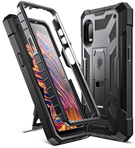 POETIC Spartan Serie für Samsung Galaxy XCover Pro Hülle, robuste Ganzkörper Schutzhülle mit Metallic-Farbakzent & Premium-Lederstruktur, stoßfeste Schutzhülle mit Ständer, Metallic Gun Metal