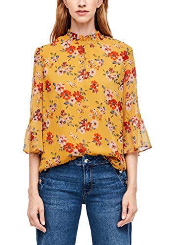 s.Oliver RED Label Damen Chiffonbluse mit floralem Muster Harvest Gold AOP 46
