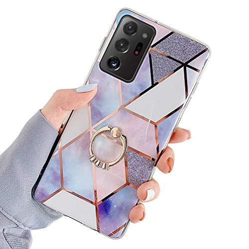 Herbests Kompatibel mit Samsung Galaxy Note 20 Ultra Hülle Bunt Marmor Muster TPU Silikon Handyhülle Glänzend Bling Glitzer Diamant Strass Ring Halter Ständer Crystal Case Tasche Schutzhülle,Lila