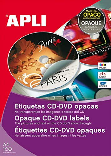 APLI 10166-Etiquetas CD/DVD permanentes tamaño clásico dorso opaco 100 hojas I/L/C