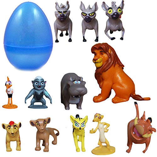 "PARK AVE 12 Lion Guard Figures with Jumbo Egg Storage, 1-2"" Tall Mini King Figure Toys for Kids Deluxe Cupcake Cake Toppers Party Favor Decoration"