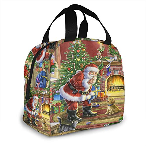 Reusable Portable Lunch Bag, Retro Christmas Santa Claus Xmas Tree Cute Puppy Dog Multi-Functional Insulated Cooler Lunch Tote for Women Work Travel