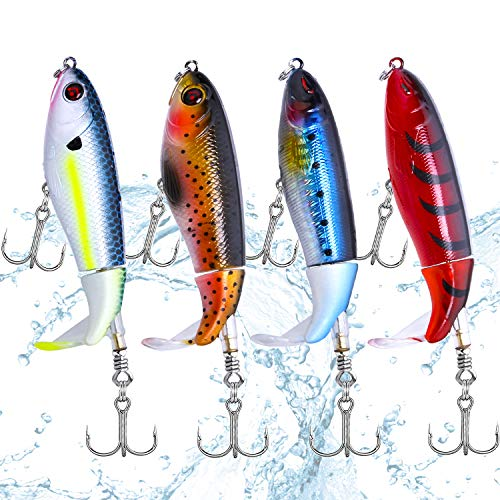 Fishing Lure Set Bass with Topwater Floating Rotating Tail Artificial Hard Bait Fishing Lures with...