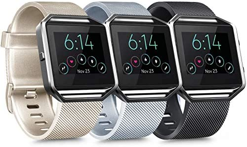 [3 Pack] Silicone Bands Compatible with Fitbit Blaze Bands for Women Men, Replacement Sport Wristband for Fitbit Blaze Smart Fitness Watch, Not Included Blaze and Frame (Small, Silver, Black, Gold)