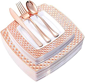 WDF 125PCS Rose Gold Plastic Plates with Disposable Plastic Silverware