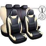 JU&MU Fundas de asiento de piel sintética para Hyundai Accent Elantra Getz I10 I20 I30 Kombi Ix20 KONA Santa Fe Sonata Tucson (Beige)