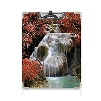 クリップボード A4サイズ対応 レンジップボード 滝の装飾 作業用ペーパーホルダー (2パック)滝は秋の木々に囲まれた巨大な岩を流れ赤白とライトブラウン