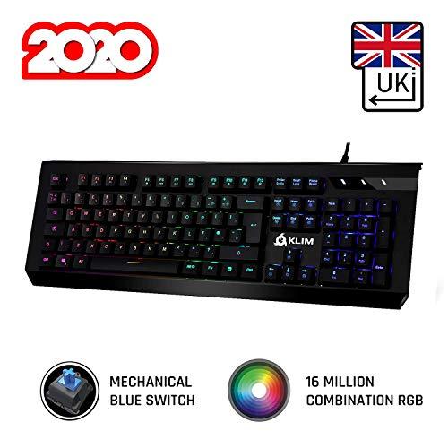 KLIM Domination - QWERTY UK - Mechanische RGB-QWERTZ-Tastatur - Neue 2020 Version - Blaue Tasten - Schneller, Präziser, Angenehmer Tastenanschlag -VOLLSTÄNDIGE Freiheit BEI DER Farbauswahl PC PS4
