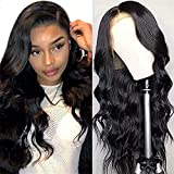 Body Wave Lace Front Wigs for Black Women Human Hair, 13x4 Lace Frontal Human Hair Wigs, 150% Density Brazilian Virgin Human Hair Lace Wig Pre-Plucked with Baby Hair Natural Color