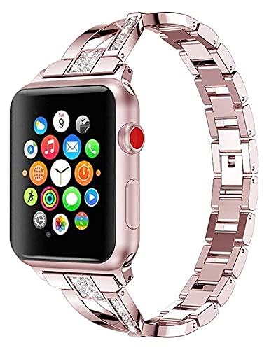 Bandas de metal Compatible con Apple Watch 38mm 40mm 42mm 44mm Correa de acero inoxidable de la correa de reemplazo de la banda Pulsera Sport Soft transpirable para iWatch Series 6 / SE / 5/4/3/2/1 pa