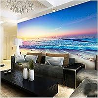 Lcymt ロマンチックな色の夕日美しいビーチ海辺の自然風景壁画壁紙ダイニングルーム現代ファッション家の装飾壁画-250X175Cm
