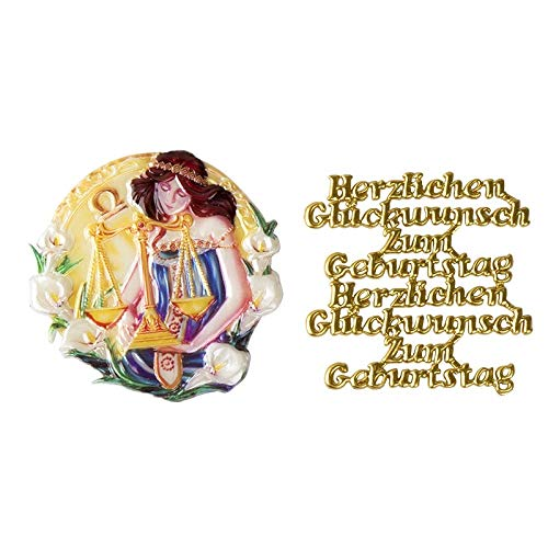 Ideen mit Herz 2 Wachsornamente   8 x 8 cm   Sternzeichen & Herzlichen Glückwunsch   farbig, geprägt   Kerzenkunst   Kerzenverzierung   Horoskop   Geburtstag (Waage)