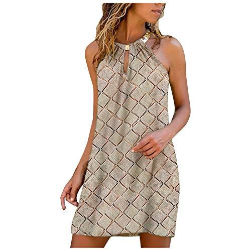 Qigxihkh Damen Sommer Rock Lässig Mode Kleider Bequem Frauen Röcke Damen lässig Mode Metall hängenden Hals Diamantdruck ärmelloses Kleid(Khaki, XL)