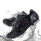 VeloChampion Elite SPD MTB Chaussures de vélo pour Hommes Femmes idéal pour la Montagne, Cyclo Cross Country XC vélos en Noir/Argent + Chaussettes Inclus (44)