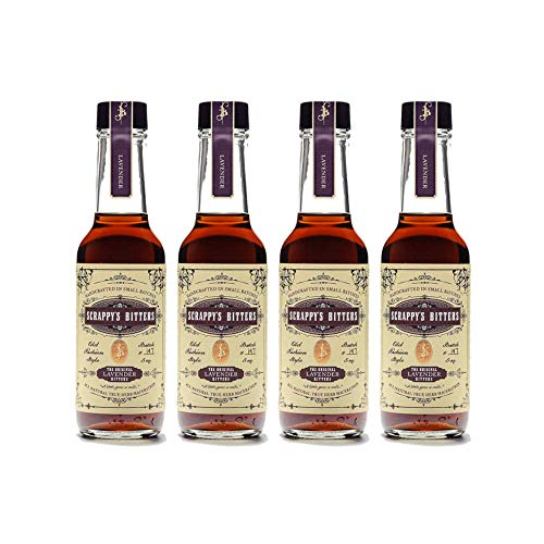 Scrappy's Bitters Organic Ingredients, Finest Herbs & Zests, No Extracts, Artificial Flavors, Chemicals or Dyes - Lavender 5 Oz. (4 Pack)