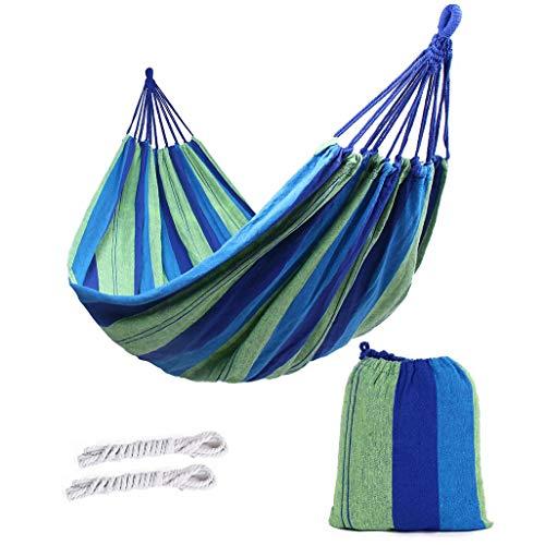 ValueHall extérieur Doux en Coton Tissu hamac brésilien Double Largeur 2 Personne Voyage Camping hamac (Classique Bleu)