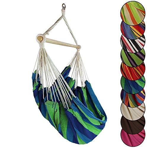 BB Sport Hängestuhl Hängesessel Textil Hängeschaukel Hängesitz Drehwirbel Holz Querstrebe Indoor Outdoor bis 150 kg Wetterfest UV Beständig, Farbe:Mauritius