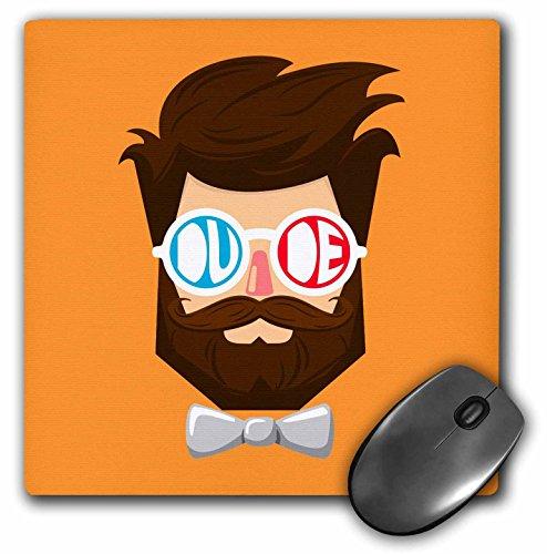3dRose mp_280189_1 Mauspad Dude A Dude mit Bart und Schnurrbart mit Brille und Fliege, 20,3 cm, Mehrfarbig