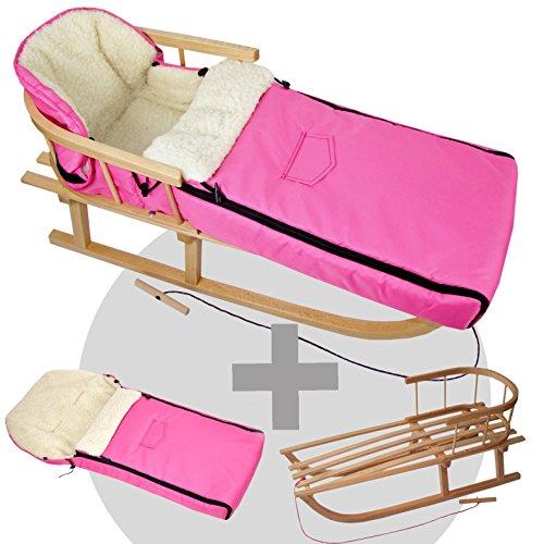 BambiniWelt24 BAMBINIWELT combi-aanbieding houten slee met rugleuning & trekkoord + universele wintervoetenzak (90 cm), geschikt voor babyschaal, kinderwagen, buggy, wol uni (roze)