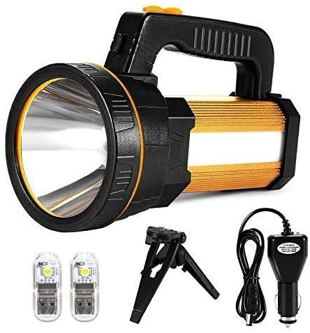 Linterna LED de mano recargable, superbrillante, 7000 lúmenes, 6 modos, resistente al agua, para exteriores, aventuras, senderismo, emergencias, con batería (dorada)