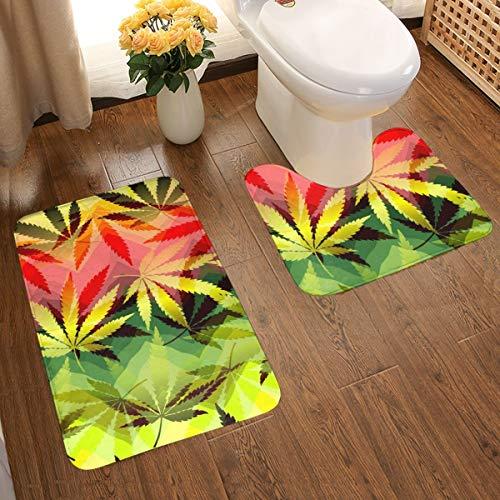 Bathroom Rug Set 2 Piece, Anti-Skid Large Size Bathroom Rugs Bath Mat Contour Set for Bath Tub Special Hemp Leaves Chevrons Background Fast Dry Bath Set - 1 Tub Shower Bath Rug + 1 U-Shaped Toilet Mat