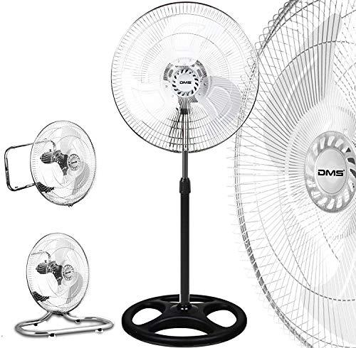 DMS 3 in 1 Ventilator Standventilator Bodenventilator Wandventilator Tischventilator mit Oszillation Ø 45 cm Windmaschine stehventilator Lüfter Gebläse MSV-3.1