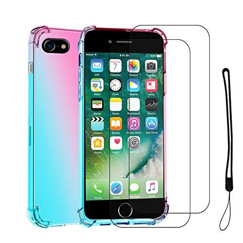 Compatible con Fundas con Cuerda iPhone 6 Carcasa iPhone 7 Fundas con Templado Protector [2 Piezas] Collar Correa de Cuello Rosa Silicona Antigolpes Tapa (iPhone 6/iPhone 7, Azul)