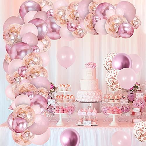 Balloon Arch Kit, GRESAHOM Metallic Red Pink Garland Kit, Birthday Decoration Metallic Rose Gold Confetti Balloons, Party Decoration Supplies Birthday Balloons for Girl Woman, Party,Graduation,Wedding