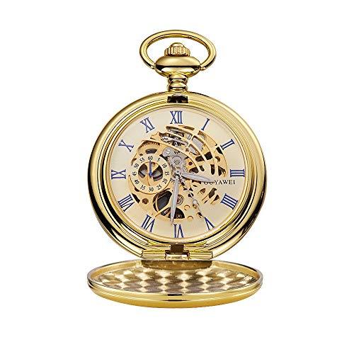 WFDA Reloj de Bolsillo con la Cadena Unisex Cuerda Manual de Bolsillo mecánico Retro Perspectiva Inferior Cubierta del Reloj (Color : Gold Shell Gold Surface)