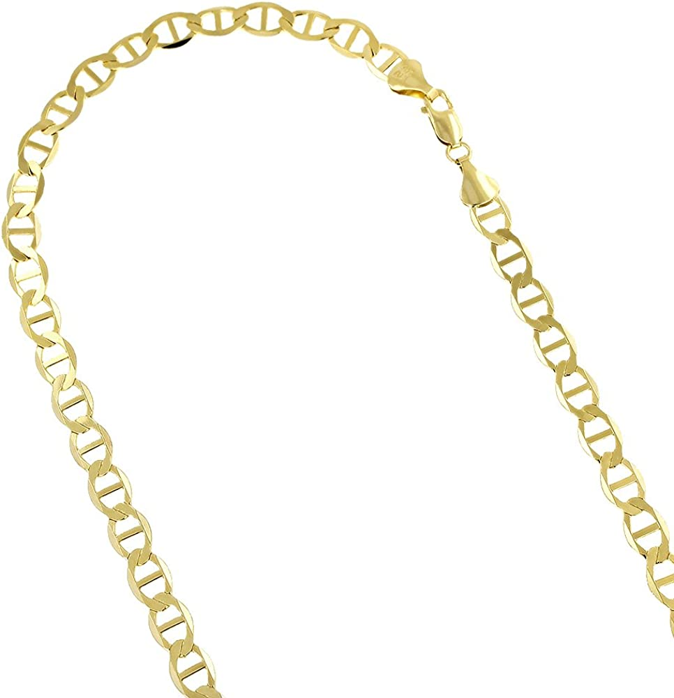LUXURMAN 14K Yellow Gold Solid Flat Nec Mariner 6.5mm Sales for sale Wide Chain Selling and selling
