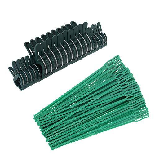 Firtink 100 Verstellbare Garten-Pflanzenbinder mit 20 Pflanzenclips Pflanzenhalter für Garten, Haushalt & Hobby
