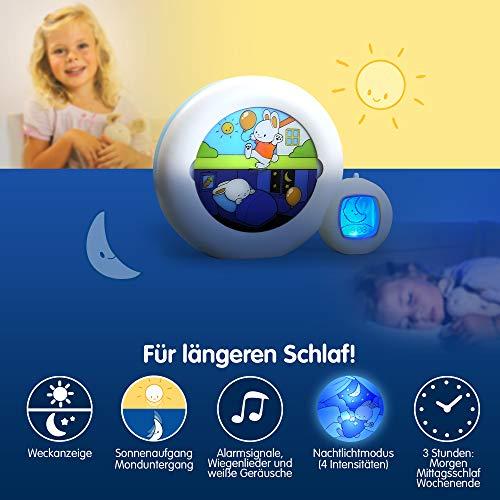 Claessens' Kid - Moon 3 en 1 (veilleuse, indicateur & réveil) - Reveil Musical Enfant Educatif Jour/Nuit Lumineux - Blanc