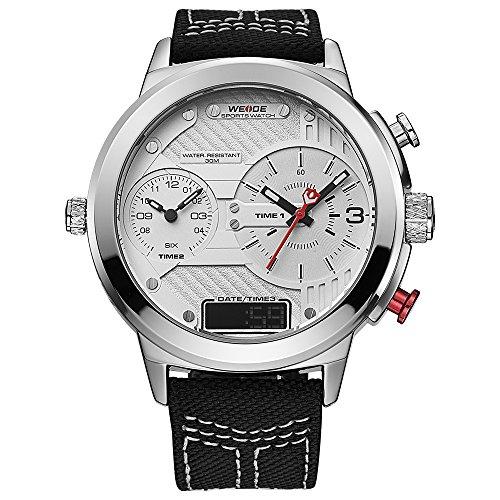 WEIDE hombres de moda reloj de pulsera de cuarzo de deporte Militar analógico Digital de tamaño extragrande trinal tiempo zona, calendario, correa de nailon (color blanco)
