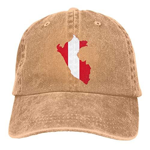 WH-CLA Gorra De Béisbol Unisex Mapa De La Bandera De Perú Classic BB Cap Ajustable Sombrero De Deportes Al Aire Libre Mujer Hombre Gorras De Golf Respirable Classic Baseball Cap Hat