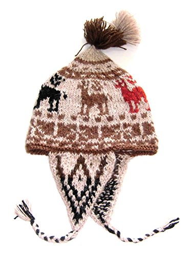 Alpacaandmore Unisex traditionelle Peruanische Chullo naturbelassene Alpakawolle handgestrickt