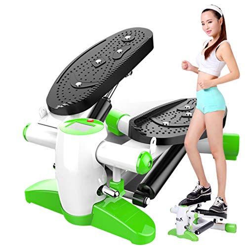NYPB Máquinas De Step, Stepper Cardio Fitness Up-Down Stepper con Pantalla LED y Cuerdas de Resistencia Máquina De Ejercicios para Glúteos Y Piernas Quemar Calorías,Verde