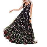 KONVINIT Womens Long 3D Flower Prom Party Dress Backless Formal Evening Gown Tulle Prom Maxi Dress Black
