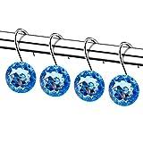 chictie 12pcs Set Claro Cristal Redondo Grande cortina de ducha ganchos resistente a la corrosión cromo pulido anillos para colgar decoración para el hogar