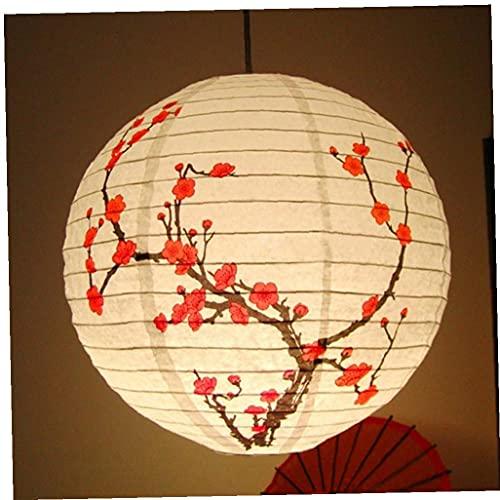 Ruluti 35 cm Plum Blossom Linterna Redonda Linterna Lámpara Shade Chinese Oriental Style Light Restaurant Fiesta de Boda Decoración del hogar Regalos